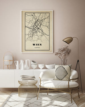 Wien City Map Sepia Poster