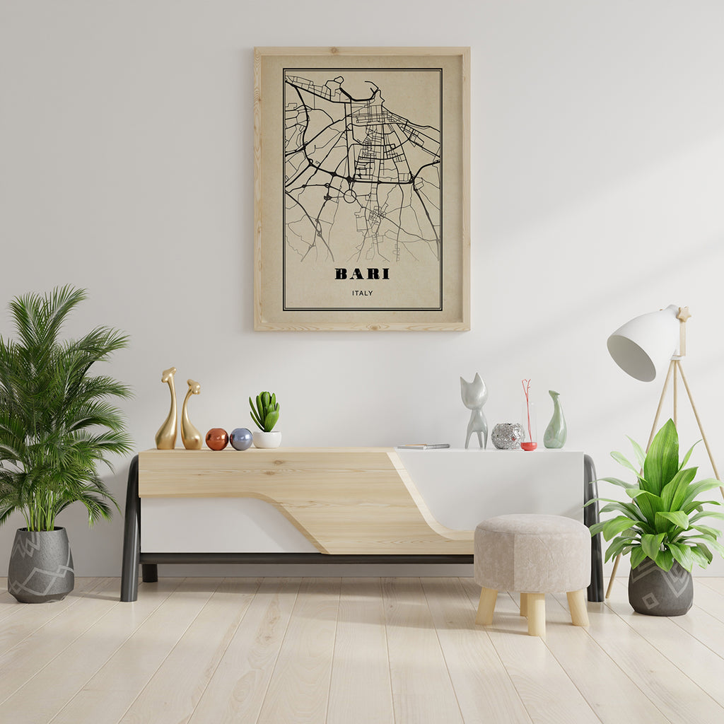 Bari City Map Sepia Poster