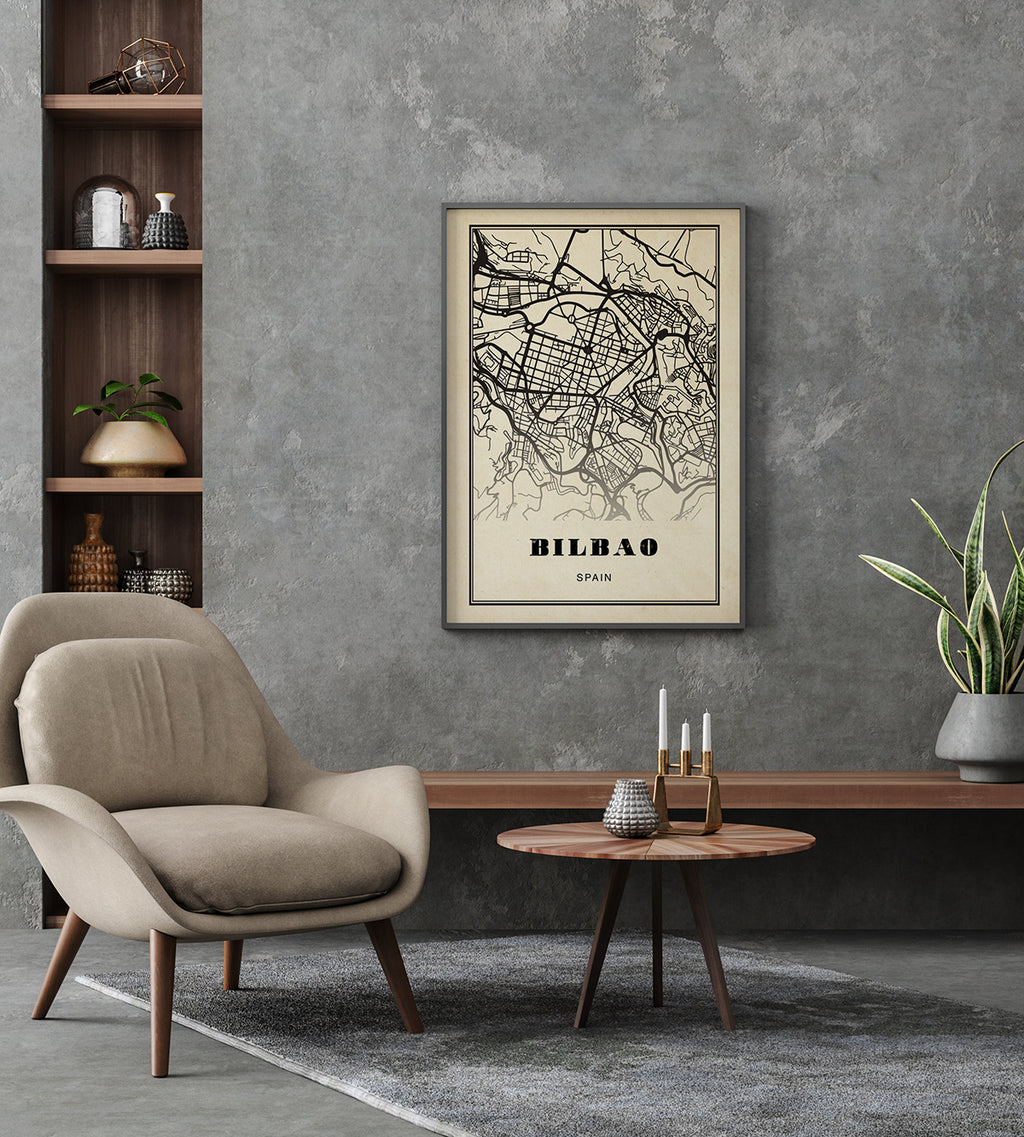 Bilbao City Map Sepia Poster
