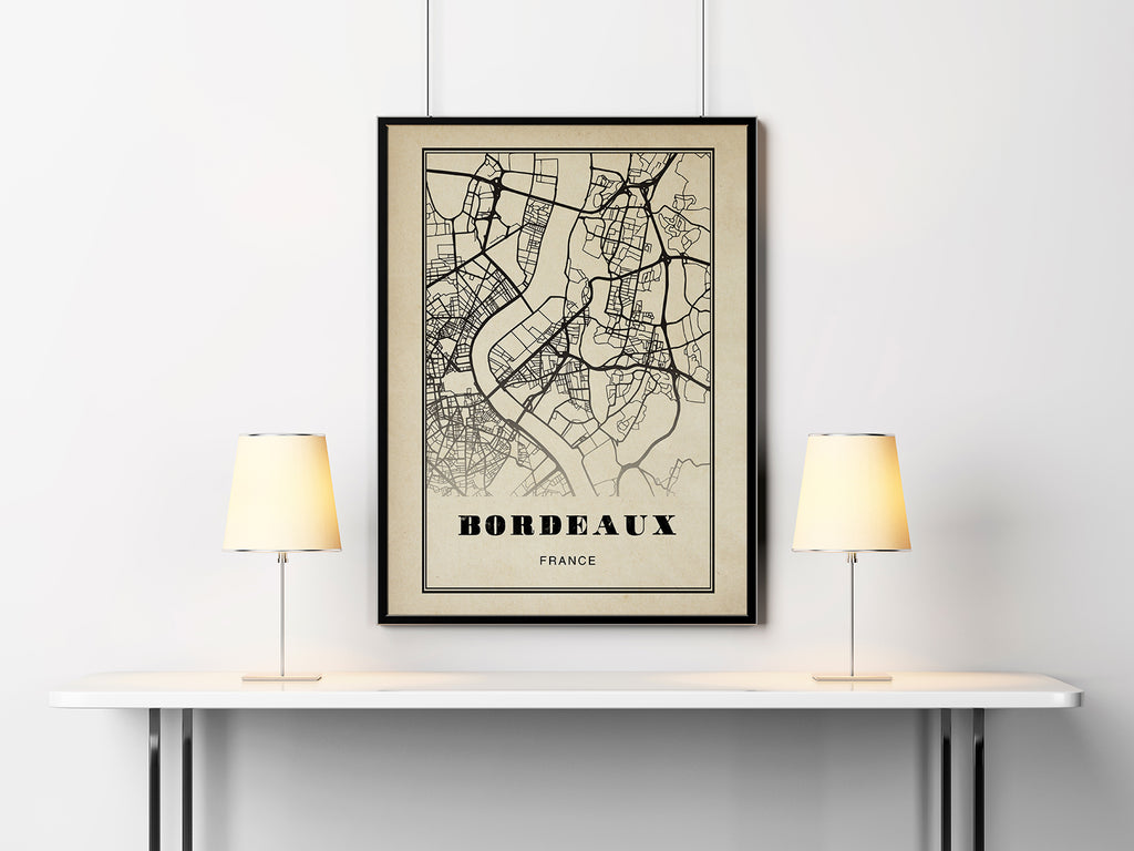 Bordeaux City Map Sepia Poster