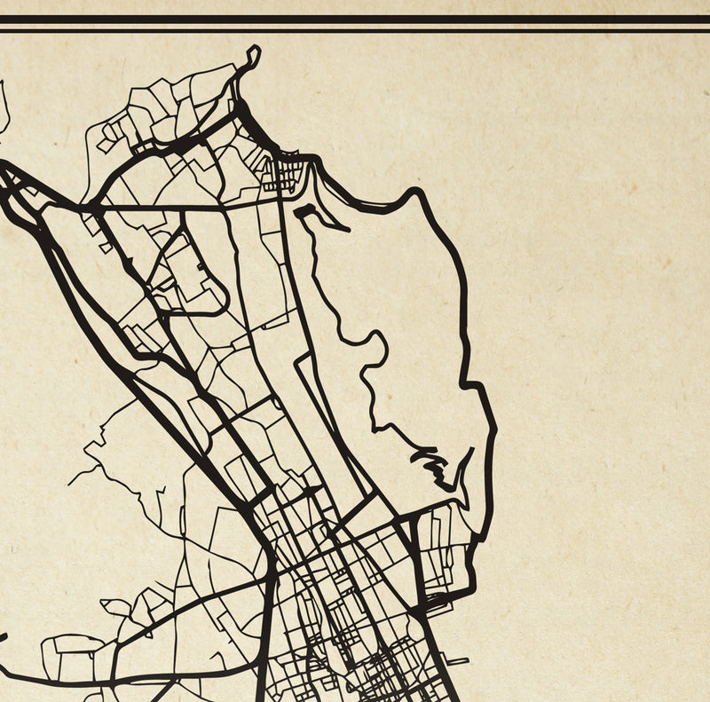 Palermo City Map Sepia Poster