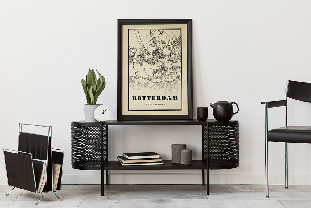 Rotterdam City Map Sepia Poster