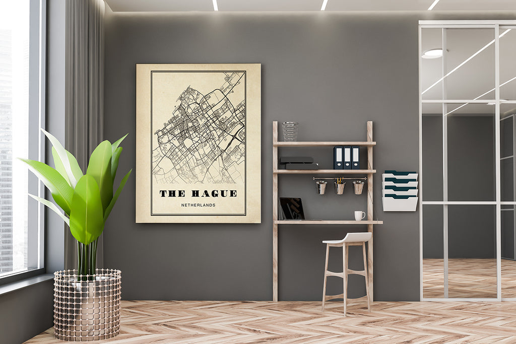 The Hague City Map Sepia Poster