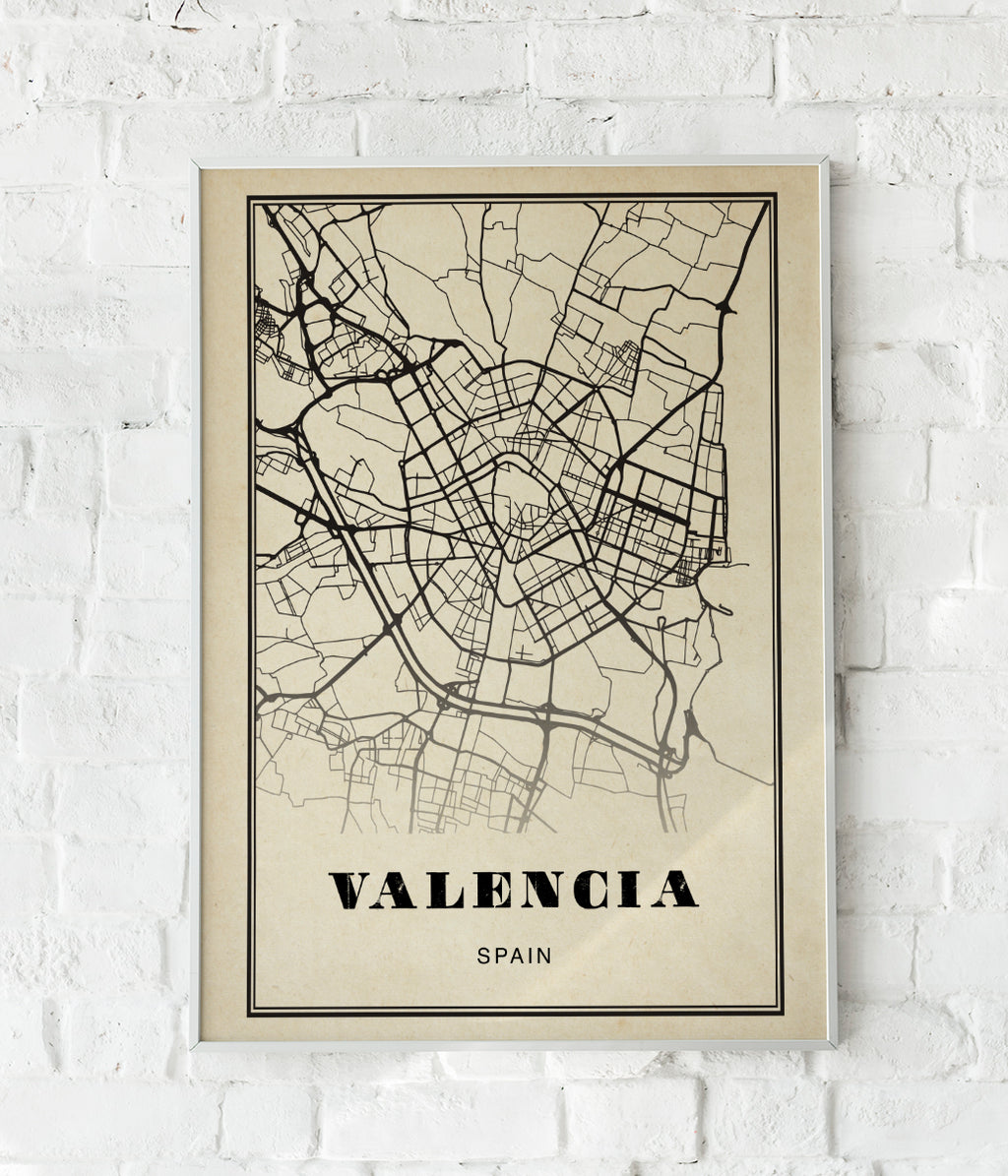 Valencia City Map Sepia Poster