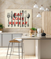 "Vintage Cutlery Poster ""Eat Love Repeat"""