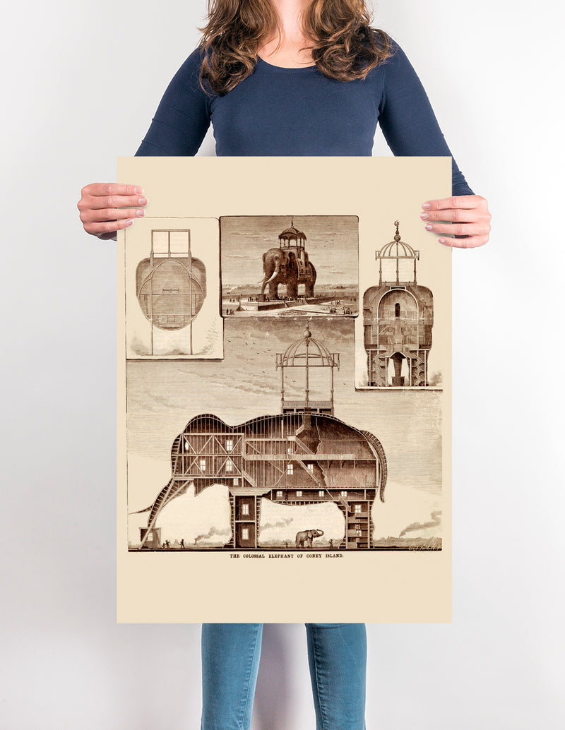 The Big Colossal Elephant - Antique poster for vintage design lovers! - Kuriosis Vintage Prints