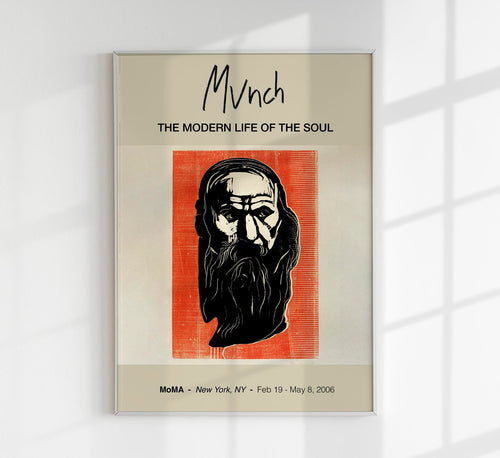 Head of an Old Man with Beard by Edvard Munch Art Exhibition Poster