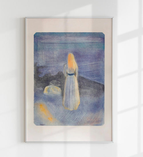 """Young Woman on the Beach"" by Edvard Munch Art Poster"