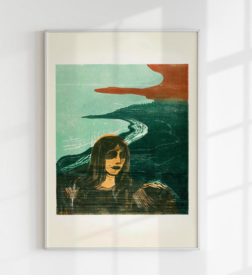 """Woman's Head against the Shore"" by Edvard Munch Art Poster"