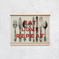 "Vintage Cutlery Poster ""Eat Love Repeat"" - Perfect for kitchen decor! - Kuriosis Vintage Prints"