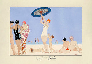 Au Lido Plate N°14  Vintage Fashion Illustration Poster by George Barbier