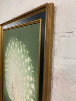 Japanese Green Peacock Canvas Vintage Wood Frame