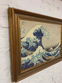The Great Wave of Kanagawa by Hokusai Canvas Vintage Wood Frame
