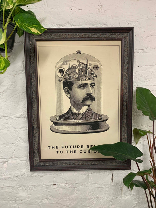 The Future Belongs to the Curious Canvas Vintage Wood Frame