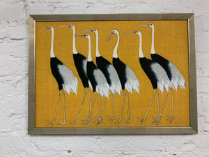 7 Birds Japanese by Korin Canvas Vintage Wood Frame
