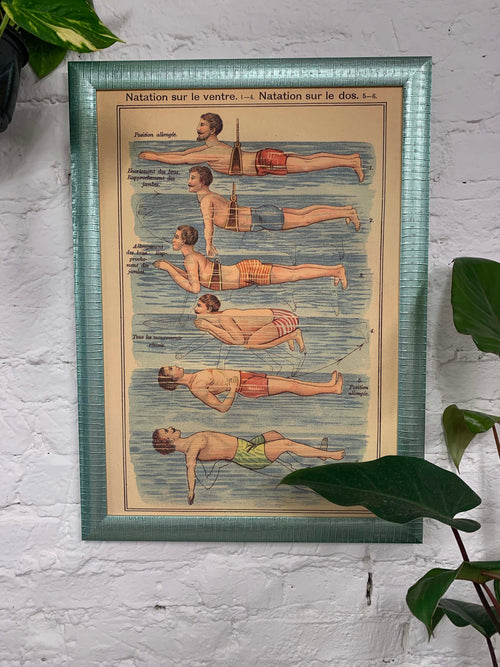The Swimmer Canvas Vintage Wood Frame