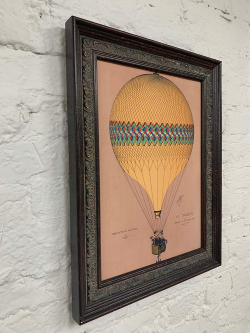 Tricolore Pink Balloon Canvas Vintage Wood Frame