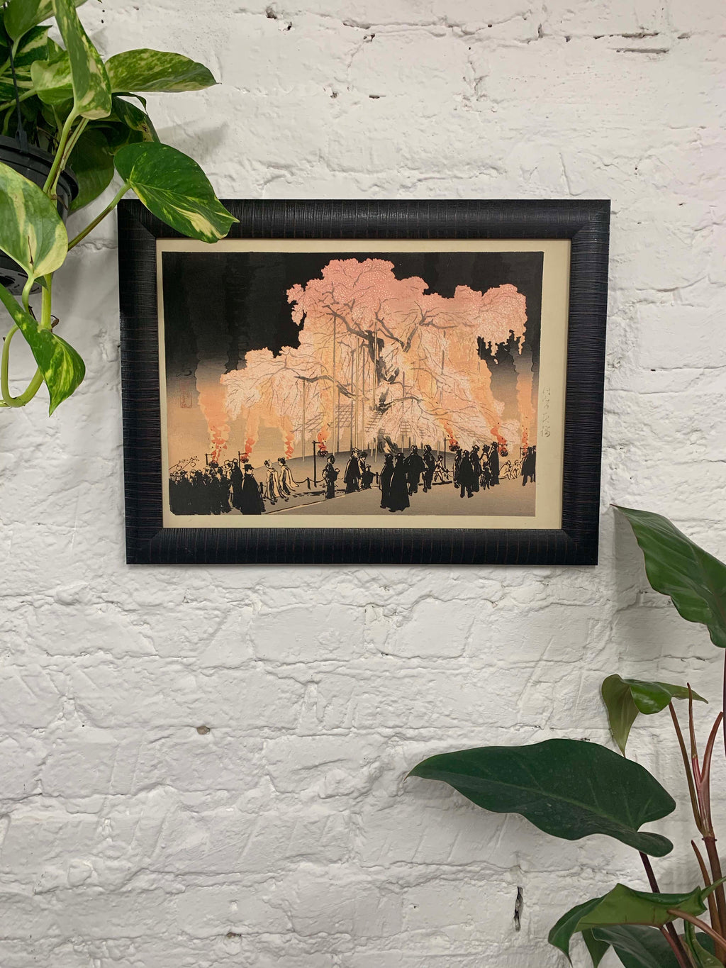 Cherry blossom at night in Maruyama park by Yoshikawa Kanpo Canvas Vintage Wood Frame
