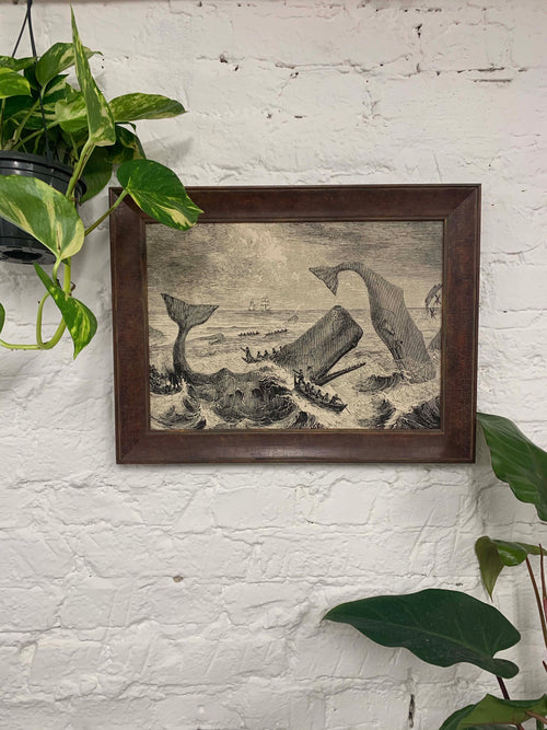 Moby Dick Scene Canvas Vintage Wood Frame