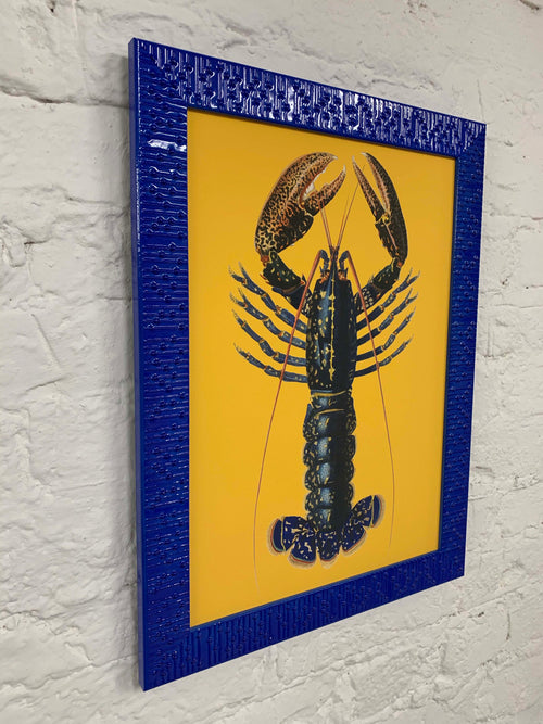 Yellow Lobster Canvas Vintage Wood Frame