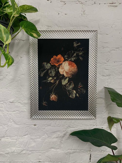 Still Life with Roses by Elias van den Broeck Canvas Vintage Wood Frame