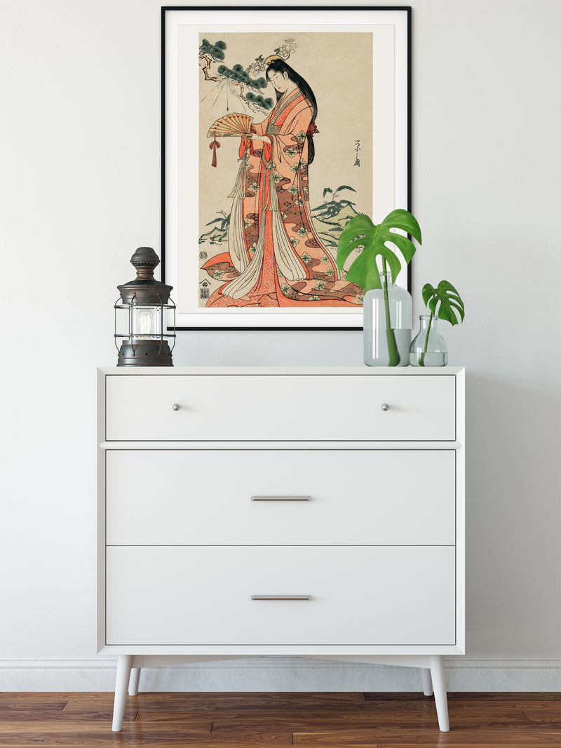 Gueixa with long hair by Eishi Hosoda Poster - Kuriosis Vintage Prints