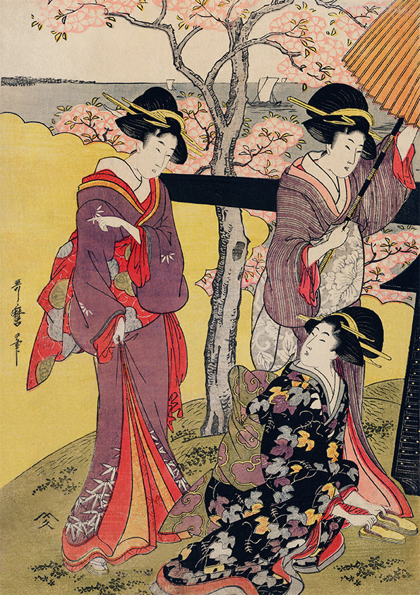 Three Gueixas at Cherry Blossom Garden - Gotenyama no Hanami Hidari by Utamaro Kitagawa
