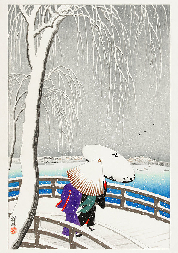 Two women in the snow on Yanagi Bridge by Ohara Koson