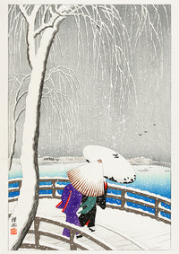 Two women in the snow on Yanagi Bridge by Koson - Kuriosis Vintage Prints