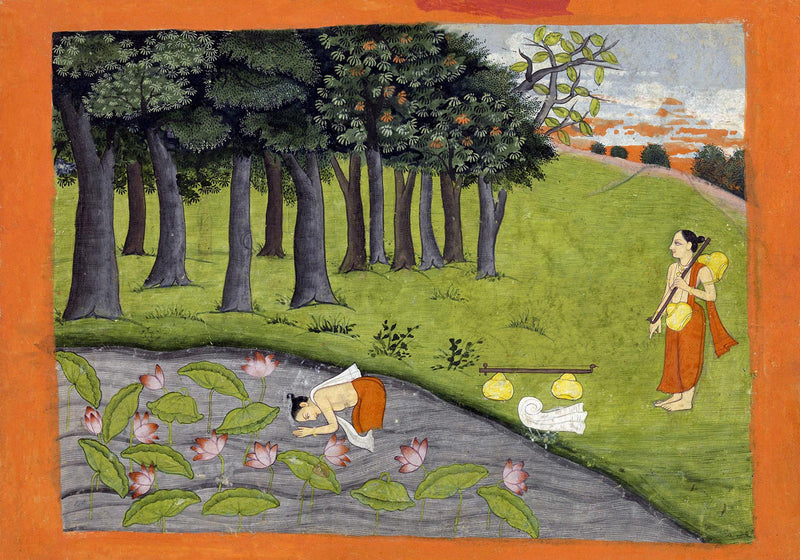 Two ascetics in a landscape Hindu Poster