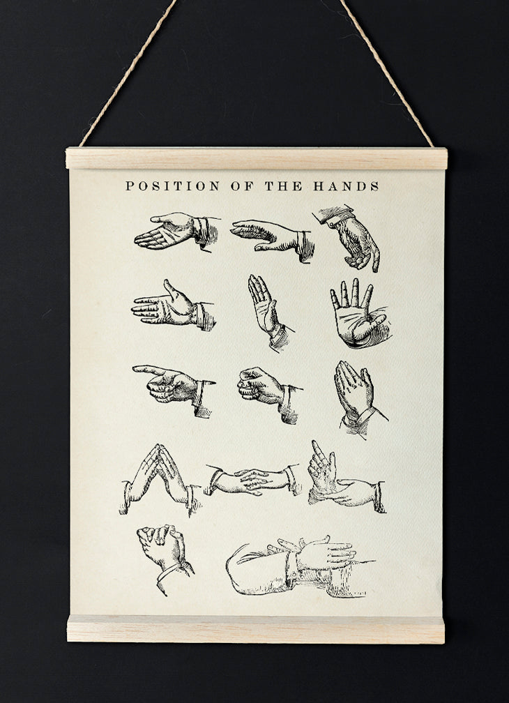 Positions of the hands vintage chart - lovely idea for your home decor!