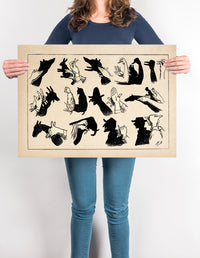 The Fabulous World of the Hands Signals - Hand's shadow game poster. Lovely Poster for Kids room! - Kuriosis Vintage Prints