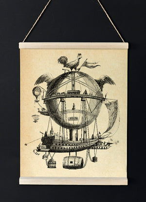 The Impossible Balloon Poster - Vintage Transportation Sketch Idea