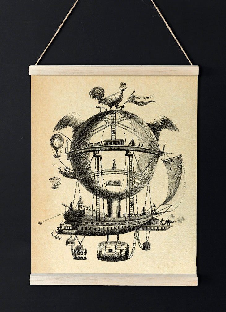 The Impossible Balloon Poster - Vintage Transportation Sketch Idea - Kuriosis Vintage Prints