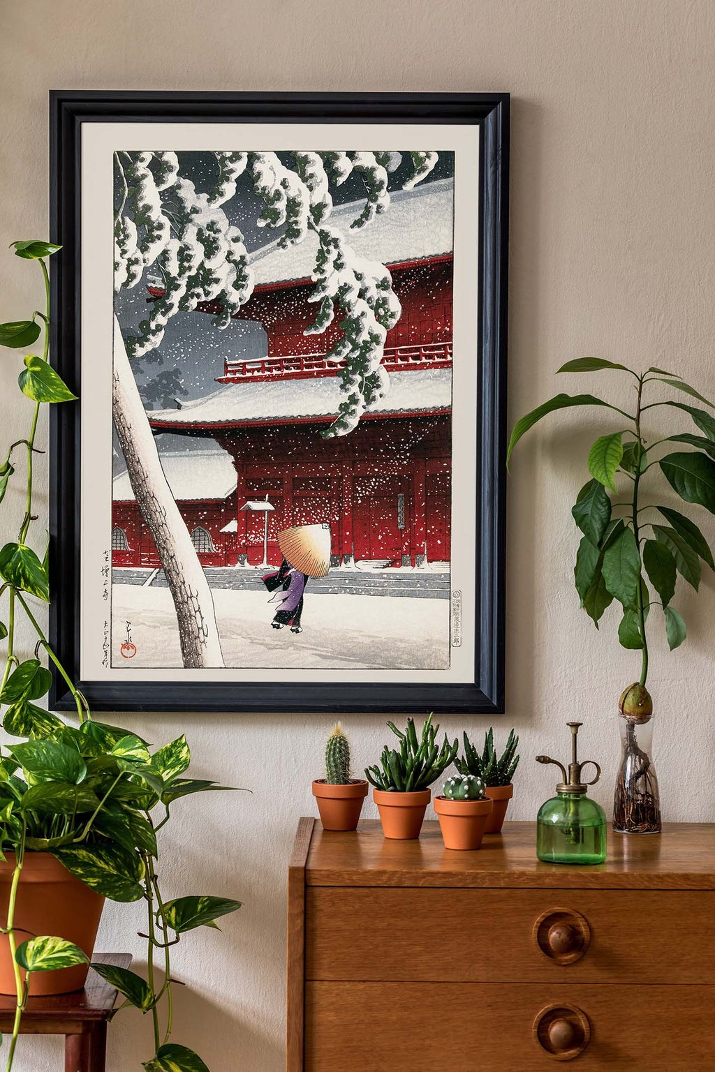 Geisha in the snow storm by Hasui Poster