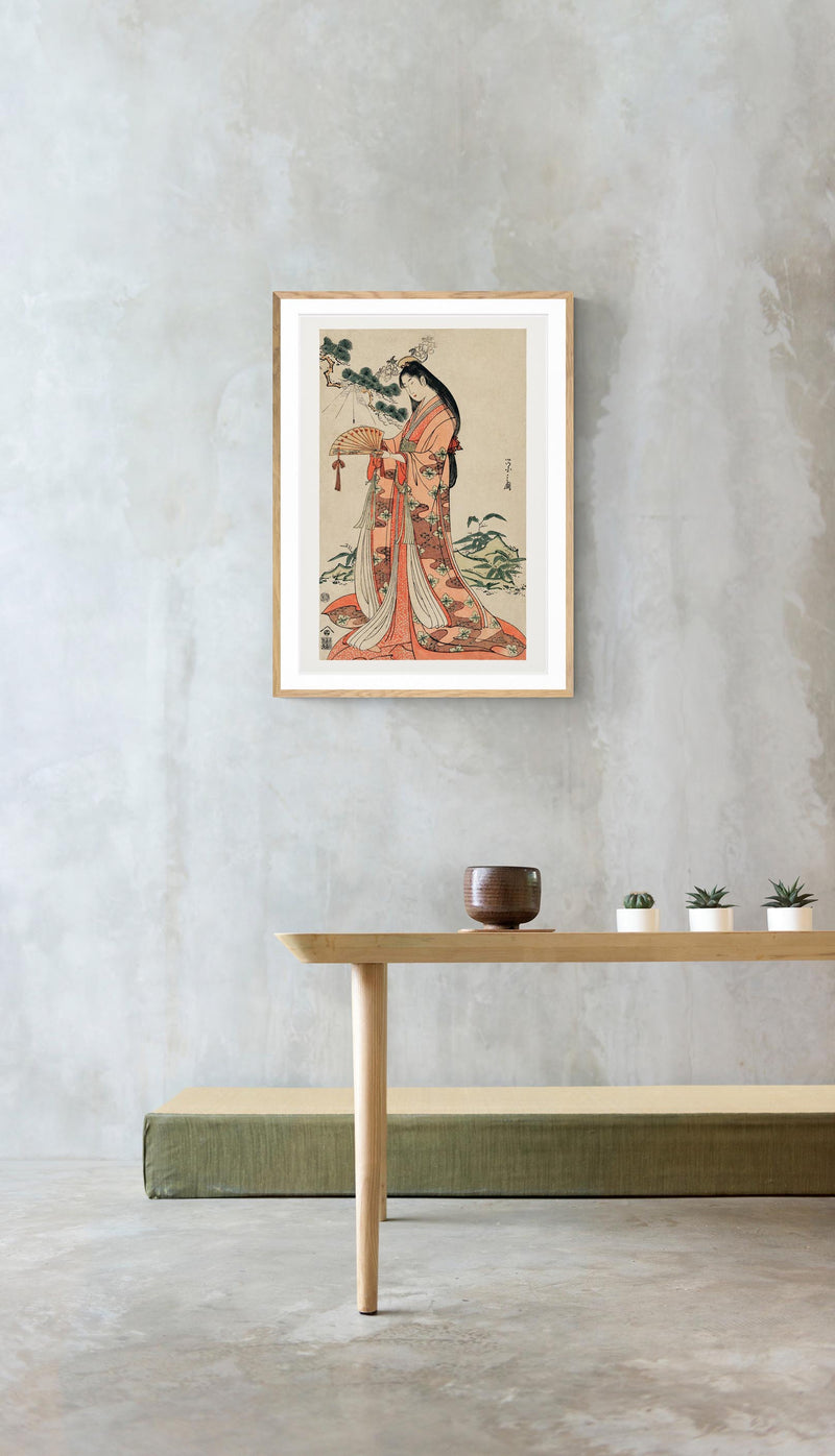 Geisha with long hair by Eishi Hosoda Poster