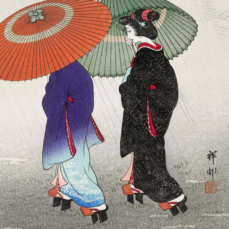 Two Women in the Rain by Ohara Koson Japanese Art Poster