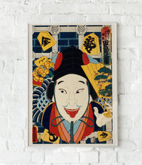 Soldier with a red tongue by Kunichika Poster