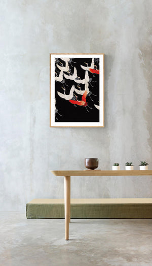 White Cranes and Red one flying Kimono Poster
