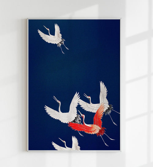 Cranes in Blue Japanese Art Poster