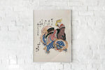 Woman Riding a Sishi by Totoya Hokkei Japanese Art Poster