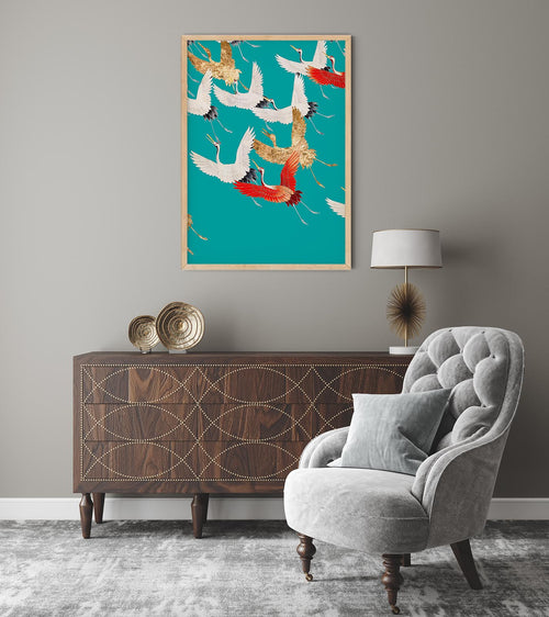 Cranes in the Sky Cyan Japanese Art Poster