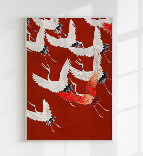 White Cranes in Red Japanese Art Poster