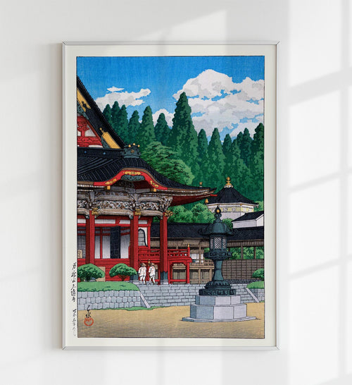 Red Temple by Hasui Japanese Art Poster