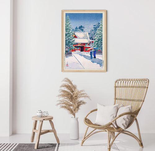 Snow at Hie Shrine by Hasui Japanese Art Poster