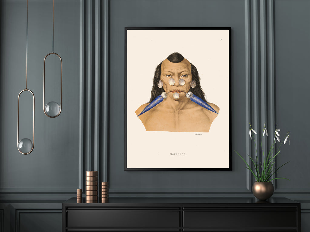 Maraxuna Indigenous Tribe Anthropology Vintage Poster