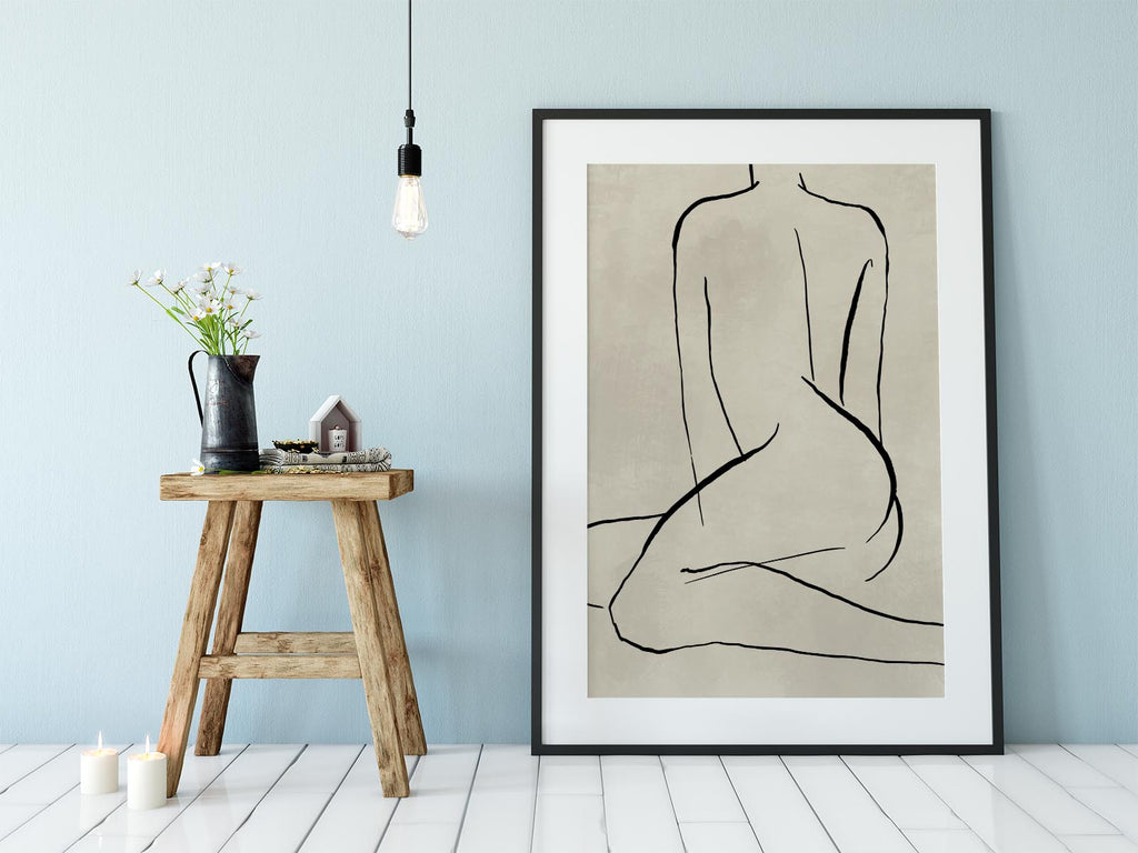 Female Body Line Drawing Nr 4 Art Poster