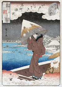 Lonely Geisha in the snow Poster - Kuriosis Vintage Prints