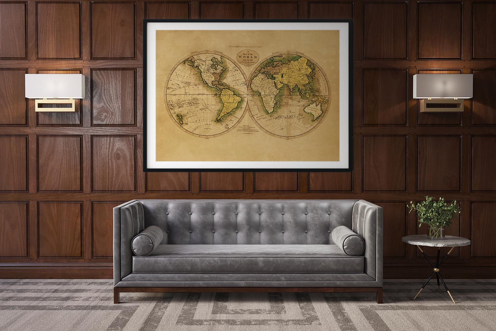Ancient World Map Poster as Office Decor