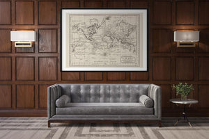 Antique World Map Chart of the World Poster as Office Decor by KURIOSIS